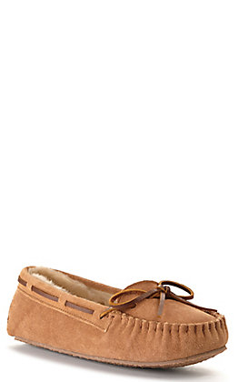 Minnetonka Women's Cally Cinnamon Tan with Pile Lining Moccasin Slipper