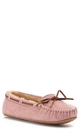 Minnetonka Women's Cally Blush Pink with Pile Lining Moccasin Slipper