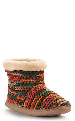 Minnetonka Women's Betty Orange Chunky Knit Booty Slipper