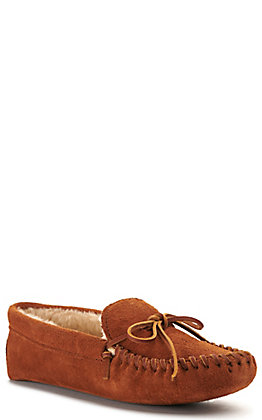 Minnetonka Mens Brown with Pile Lined Suede Slipper