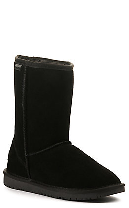 Minnetonka Women's Olympia Black Suede Round Toe Boots