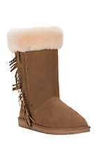 Minnetonka Ladies Golden Tan with Fringe Suede Boot