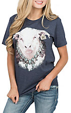 Lazy J Ranchwear Women's Navy Bull Squash Blossom Short Sleeve T-Shirt