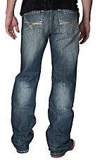 Rock & Roll Cowboy Dark Vintage Stonewash with Abstract Embroidery Cannon Loose Fit Straight Leg Jeans