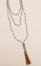 Laminin Moccasin Layered Tiger Eye Beaded Necklace