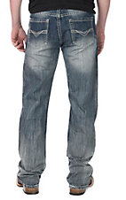 Rock and Roll Cowboy Men's Dark Wash Relaxed Fit Open Pocket Boot Cut Jeans