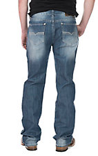 Rock and Roll Cowboy Men's Medium Wash Relaxed Fit Open Pocket Boot Cut Jeans