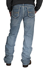 Rock & Roll Cowboy Light Vintage Wash Abstract Embroidered Pocket Double Barrel Relaxed Fit Boot Cut Jeans