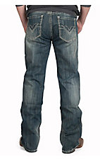Rock & Roll Cowboy Dark Vintage Wash V Embroidered Pocket Double Barrel Relaxed Fit Boot Cut Jeans MOD2174