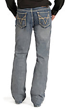 Rock & Roll Cowboy Men's Medium Vintage Wash V Embroidered Double Barrel Relaxed Fit Boot Cut Jean
