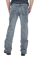 Rock & Roll Cowboy Men's Double Barrel Light Wash Small V Pieced Stitched Pocket Boot Cut Jeans