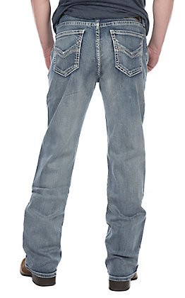 Rock & Roll Denim Men's Double Barrel Light Wash Relaxed Fit Boot Cut Jeans