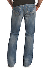 Rock & Roll Cowboy Men's Medium Vintage Wash Abstract Raised Denim Double Barrel Relaxed Fit Boot Cut Jeans