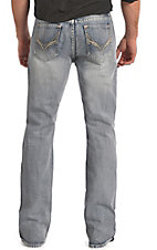 Rock & Roll Cowboy Men's Light Vintage Wash Running Stitch V Embroidery Double Barrel Relaxed Fit Boot Cut Jeans