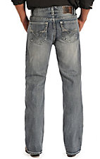 Rock & Roll Cowboy Men's Light Vintage Wash Running V Embroidered Double Barrel Relaxed Fit Boot Cut Jeans