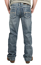 Rock & Roll Cowboy Men's Medium Wash with Cream Embroidered Pocket Relaxed Fit Boot Cut Jeans