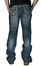 Rock & Roll Cowboy Dark Vintage Wash V Embroidery Pocket Double Barrel Relaxed Fit Boot Cut Jeans