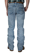 Rock & Roll Cowboy Light Wash with Abstract Embroidery Pocket Double Barrel Relaxed Fit Boot Cut Jeans