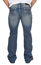 Rock & Roll Cowboy Men's Light Wash Double Barrel Relaxed Fit Boot Cut Jeans