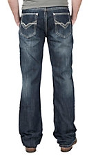 Rock & Roll Cowboy Men's Medium Wash Abstract Relaxed Boot CutJeans