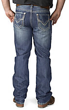 Rock & Roll Cowboy Medium Vintage Wash Raised Pocket Double Barrel Relaxed Fit Boot Cut Jeans