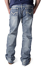 Rock & Roll Cowboy Light Vintage Wash V Embroidered Pocket Double Barrel Relaxed Fit Boot Cut Jeans