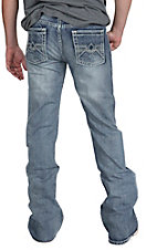 Rock & Roll Cowboy Men's Medium Vintage Wash Denim V Abstract Embroidered Pocket Pistol Boot Cut Jean