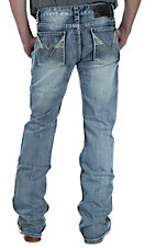 Rock & Roll Cowboy Light Wash with Double V Pocket Pistol Regular Fit Boot Cut Jeans