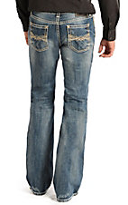 Rock & Roll Cowboy Men's Light Vintage Wash V Embroidered Pistol Regular Fit Boot Cut Jean