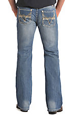 Rock & Roll Cowboy Men's Vintage Medium Wash V Abstract Embroidered Pocket Pistol Regular Fit Boot Cut Jeans