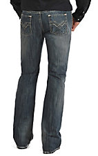 Rock & Roll Cowboy Men's Medium Wash Abstract Raised Denim Pocket Pistol Regular Fit Boot Cut Jeans
