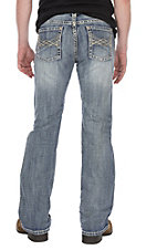 Rock & Roll Cowboy Light Wash Abstract AV Pocket Pistol Boot Cut Jeans