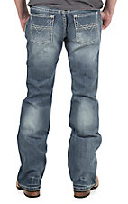Rock & Roll Cowboy Men's Medium Vintage Wash V Embroidered Pocket Pistol Regular Fit Boot Cut Jeans