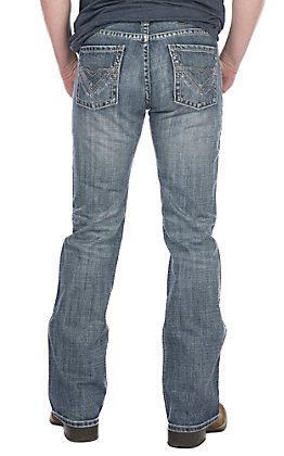 Rock & Roll Cowboy Men's Pistol Boot Cut Light Wash with Grey Double V Stitched Pocket Jeans