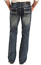Rock & Roll Cowboy Men's Medium Wash Criss Cross Embroidered Boot Cut Jeans