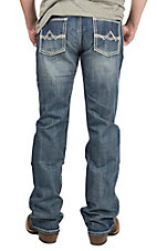 Rock & Roll Cowboy Men's Medium Wash with Cream Embroidery Pistol Model Regular Fit Boot Cut Jeans