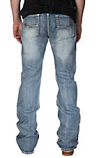 Rock & Roll Cowboy Light Stonewash Abstract Embroidered Pocket Pistol Slim Fit Boot Cut Jeans
