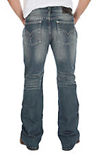 Rock & Roll Cowboy Men's Stone Wash Abstract Embroidered Open Pocket Boot Cut Jeans