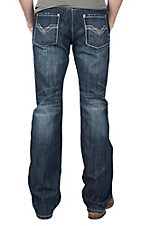 Rock & Roll Cowboy Men's Dark Wash Triple V Embroidered Open Pocket Boot Cut Jeans