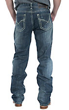 Rock & Roll Cowboy Dark Wash Abstract X Embroidery Pocket Double Barrel Relaxed Fit Straight Leg Jeans