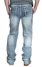 Rock & Roll Cowboy Light Wash Curvy Embroidered Pocket Double Barrel Relaxed Fit Straight Leg Jeans