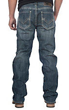 Rock & Roll Cowboy Dark Double Barrel Straight w/ 4 Line V Pocket Stitching Cavender's Exlusive Jeans