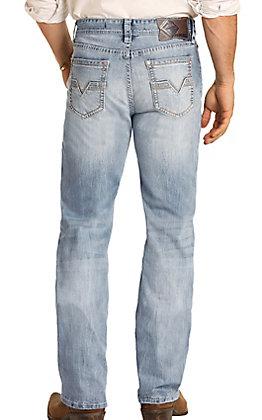 Rock & Roll Denim Men's Double Barrel Light Wash Relaxed Fit Boot Cut Jean