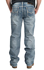 Rock & Roll Cowboy Light Wash Abstract V Embroidered Pocket Double Barrel Relaxed Fit Straight Leg Jeans