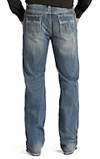 Rock & Roll Cowboy Men's Medium Vintage Wash Raised Denim V Double Barrel Relaxed Fit Straight Leg Jeans