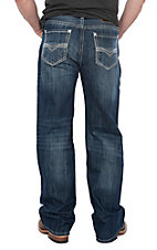 Rock & Roll Cowboy Men's Double Barrel Straight Leg Dark Wash Triple V Stitched Pocket Jeans