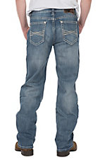 Rock & Roll Cowboy Men's Double Barrel Straight Leg Medium Wash Reflex with Abstract AV Pocket Jeans