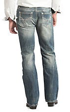 Rock & Roll Cowboy Men's Medium Vintage Wash Curved V Embroidery Double Barrel Relaxed Fit Straight Leg Jeans