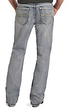 Rock & Roll Cowboy Men's Medium Vintage Wash Abstract Embroidered Double Barrel Relaxed Fit Straight Leg jeans