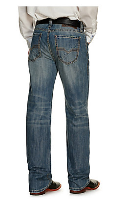 Rock & Roll Denim Men's Double Barrel Vintage Medium Wash Relaxed Fit Straight Leg Jean